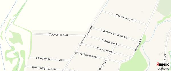 Оросительная улица на карте села Катар-Юрт с номерами домов
