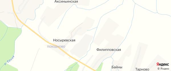 Карта деревни Филипповской-1 в Архангельской области с улицами и номерами домов