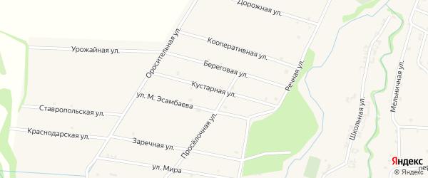 Кустарная улица на карте села Катар-Юрт с номерами домов