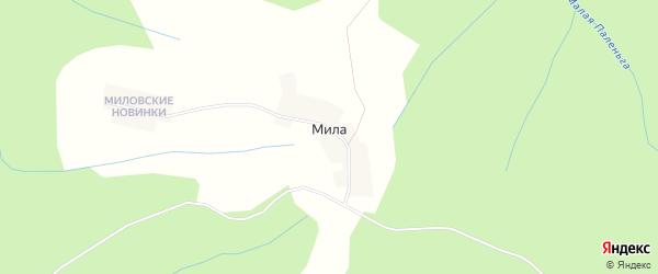 Карта деревни Милы в Архангельской области с улицами и номерами домов