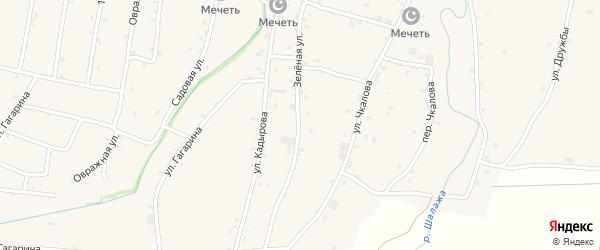 Зелёная улица на карте села Катар-Юрт с номерами домов