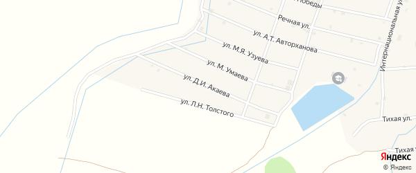 Улица Д.Акаева на карте села Шаами-Юрт с номерами домов