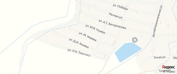 Улица М.Умаева на карте села Шаами-Юрт с номерами домов