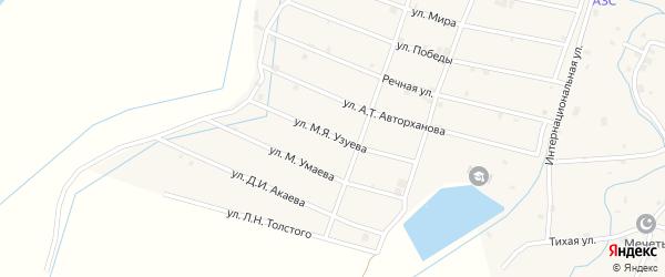 Улица М.Узуева на карте села Шаами-Юрт с номерами домов
