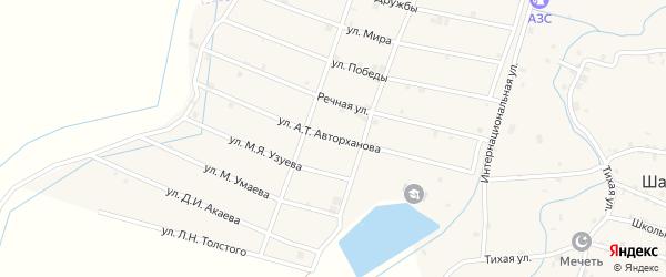 Улица А.Авторханова на карте села Шаами-Юрт с номерами домов