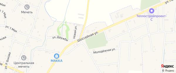 Шоссейная улица на карте села Катар-Юрт с номерами домов