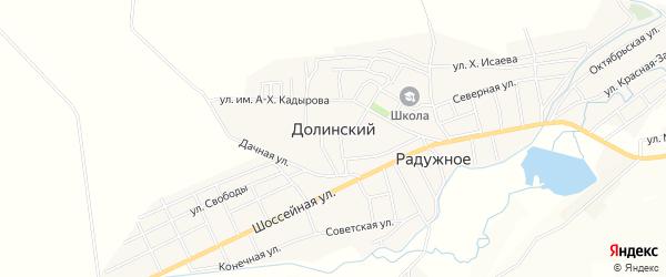 Карта Долинского поселка в Чечне с улицами и номерами домов