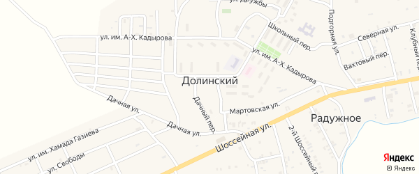 Лесная улица на карте Долинского поселка с номерами домов