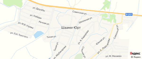 Карта села Шаами-Юрт в Чечне с улицами и номерами домов