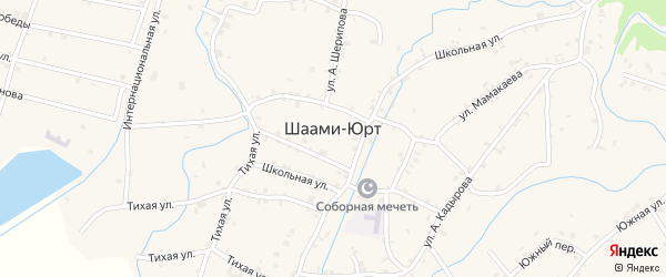 Переулок 6-й М.Абубакарова на карте села Шаами-Юрт с номерами домов