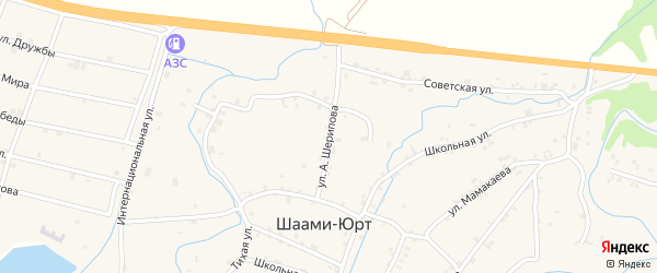 Улица А.Шерипова на карте села Шаами-Юрт с номерами домов