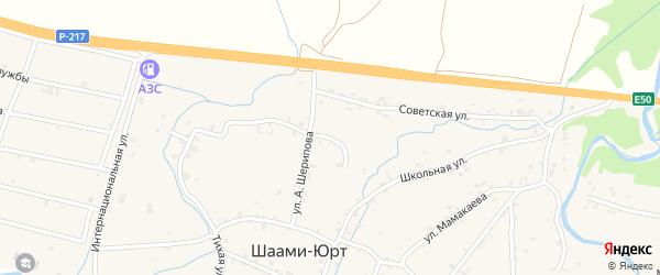 Переулок 2-й А.Шерипова на карте села Шаами-Юрт с номерами домов