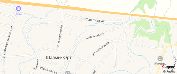 Школьная улица на карте села Шаами-Юрт с номерами домов