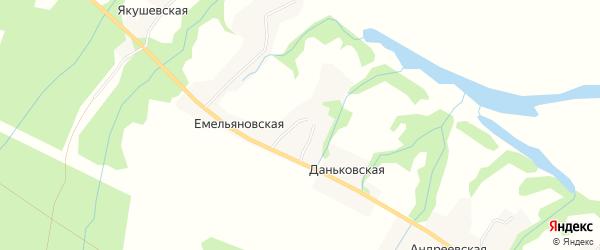 Карта Даньковской деревни в Архангельской области с улицами и номерами домов