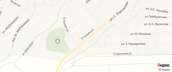 Степная улица на карте села Шаами-Юрт с номерами домов