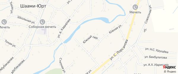 Южный переулок на карте села Шаами-Юрт с номерами домов