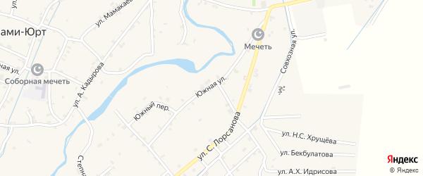 Южная улица на карте села Шаами-Юрт с номерами домов