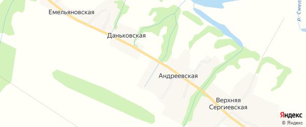 Карта Андреевской деревни в Архангельской области с улицами и номерами домов