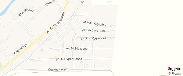 Улица А.Х.Идрисова на карте села Хамби-Ирзи с номерами домов