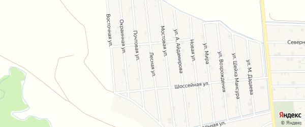 Лесная улица на карте села Закан-Юрт с номерами домов
