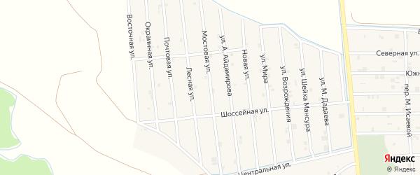 Мостовая улица на карте села Закан-Юрт с номерами домов