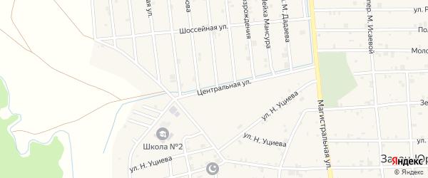 Центральная улица на карте села Закан-Юрт с номерами домов