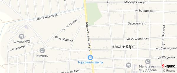 Магистральная улица на карте села Закан-Юрт с номерами домов