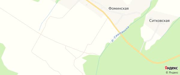 Карта Верхней Сергиевской деревни в Архангельской области с улицами и номерами домов