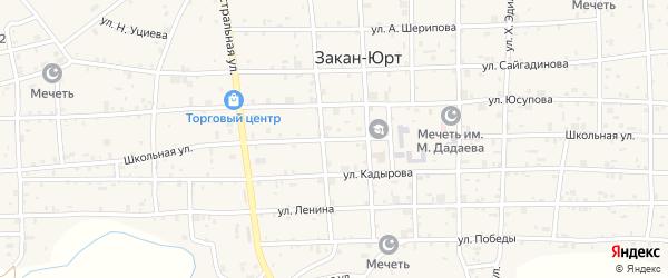 Школьная улица на карте села Катар-Юрт с номерами домов