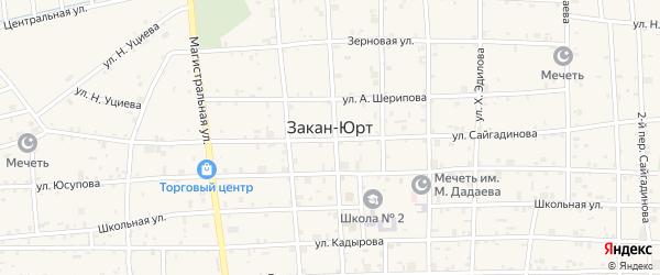 Переулок 1-й Х.Сайгадинова на карте села Закан-Юрт с номерами домов