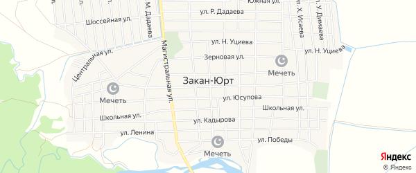 Карта села Закан-Юрт в Чечне с улицами и номерами домов