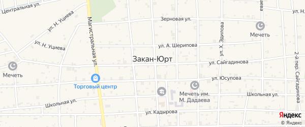 Улица М.Мамакаева на карте села Закан-Юрт с номерами домов