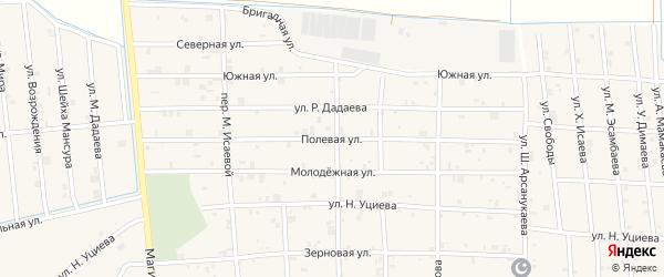 Полевая улица на карте села Закан-Юрт с номерами домов