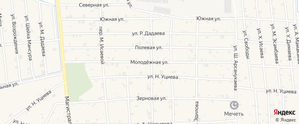 Молодежная улица на карте села Закан-Юрт с номерами домов