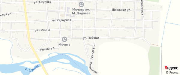 Улица Победы на карте села Закан-Юрт с номерами домов