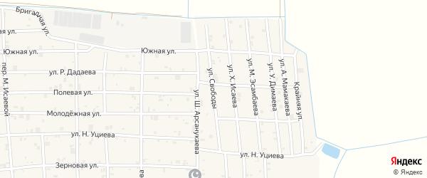 Улица Свободы на карте села Закан-Юрт с номерами домов
