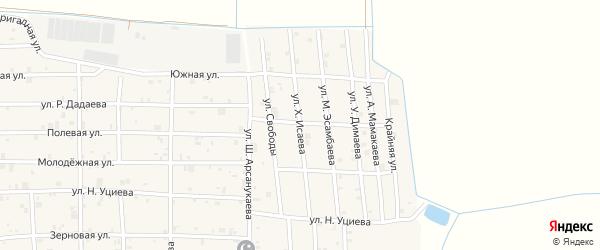 Улица Х.Исаева на карте села Закан-Юрт с номерами домов