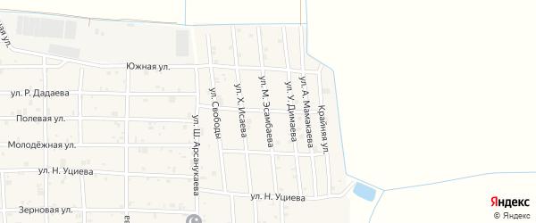 Улица М.Эсамбаева на карте села Закан-Юрт с номерами домов