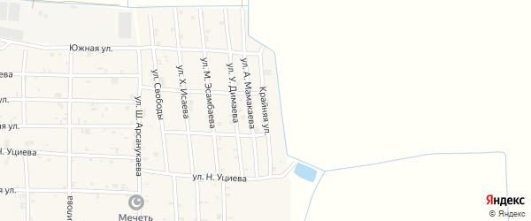 Крайняя улица на карте села Закан-Юрт с номерами домов
