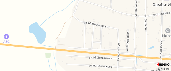 Переулок 1-й Висаитова на карте села Хамби-Ирзи с номерами домов