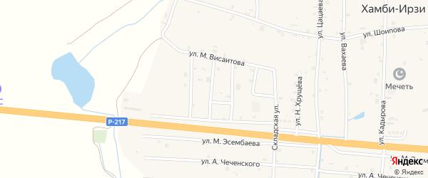Переулок 2-й Висаитова на карте села Хамби-Ирзи с номерами домов