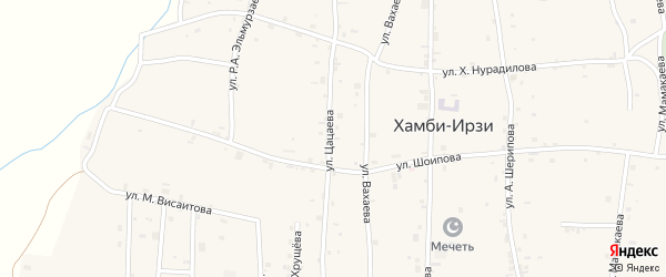 Улица А.Х.Цацаева на карте села Хамби-Ирзи с номерами домов