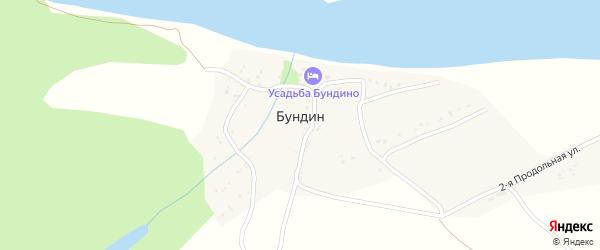 1-ая Продольная улица на карте хутора Бундина с номерами домов