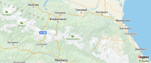 Карта Итум-калинского района республики Чечня с населенными пунктами и городами