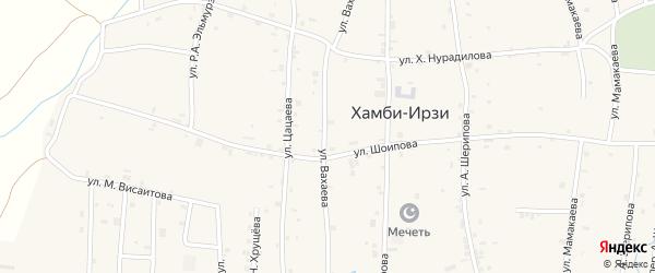 Улица А.Г.Вахаева на карте села Хамби-Ирзи с номерами домов