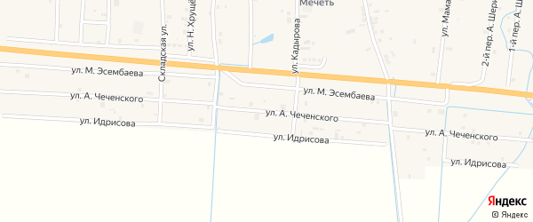 Улица А.Чеченского на карте села Хамби-Ирзи с номерами домов