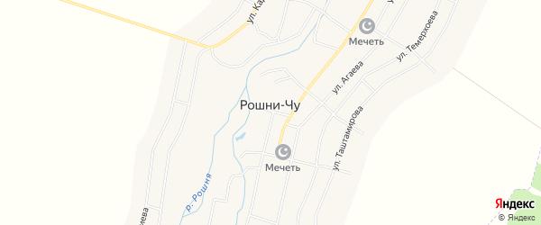 Карта села Рошни-Чу в Чечне с улицами и номерами домов
