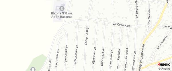 Солдатская улица на карте Урус-мартана с номерами домов