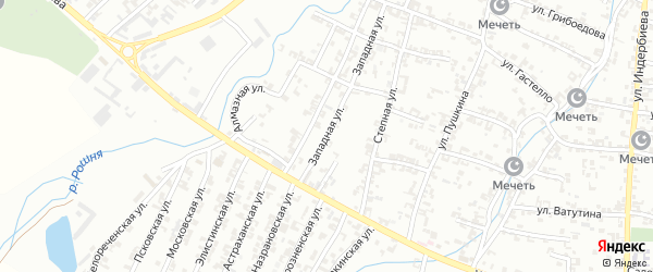Западная улица на карте Урус-мартана с номерами домов