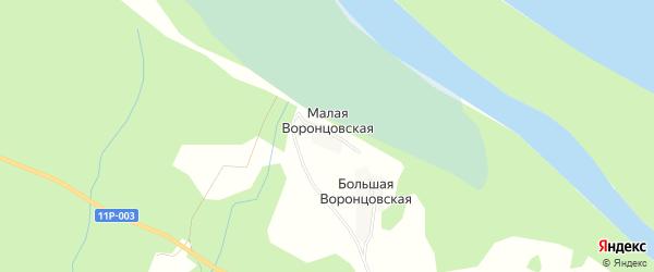 Карта Малой Воронцовской деревни в Архангельской области с улицами и номерами домов